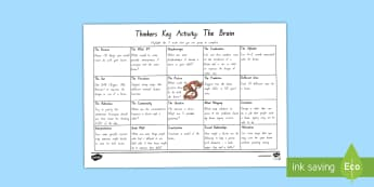 Thinkers Key: The Brain Activity Sheet - brain, thinkers keys, growth mindset, tasks, challenges, group, research, organ, the body, thinking,
