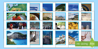 KS2 Facts About Greece Display Photos - display, photo, Greece, Greek food, Parthenon, Greek homes, hilltop home, clifftop home, monastery,