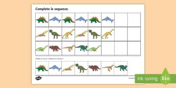Completa le sequenze con i dinosauri Attività - matematica, sequenza, sequenze, numeri, dinosauri, italiano, italian, materiale, scolastico