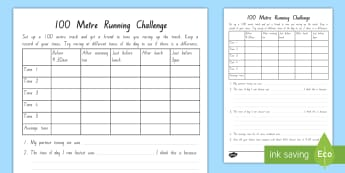 100 Metre Running Challenge Activity To Support Teaching On Ghost by Jason Reynolds - chapter chat, year 5, year 6, 100 metres, ghost, jason reynolds, reading