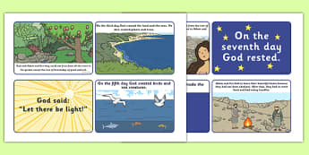 Adam and Eve Creation Story Sequencing (4 per A4) - Adam, Eve, Eden, serpent, fruit, earth, garden, creation, creation story, sequencing, story sequencing, story resources, A4, cards, paradise, sea creatures, birds, stars, moon, sun, tree, evil, know