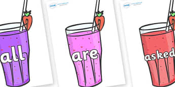 Tricky Words on Smoothies - Tricky words, DfES Letters and Sounds, Letters and sounds, display, words
