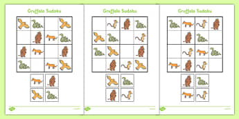 Sudoku Resource Pack to Support Teaching on The Gruffalo - puzzle, activity, missing, thinking