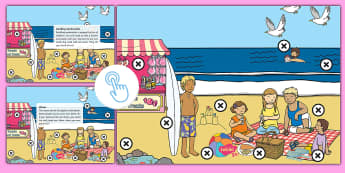 KS1 Beach Picture Hotspots - seaside, coast, water, beach, shingle, holiday, Twinkl Go, twinkl go, TwinklGo, twinklgo