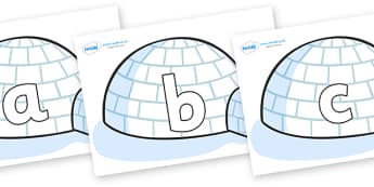 Phoneme Set on Igloos - Phoneme set, phonemes, phoneme, Letters and Sounds, DfES, display, Phase 1, Phase 2, Phase 3, Phase 5, Foundation, Literacy