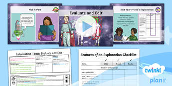PlanIt Y3 Space: To Support Teaching on The King of Space Lesson Pack (9) - The King of Space, explanations, edit, evaluate, peer assessment,  space, Year 3, Y3, English, non-f