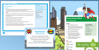 Superheroes Small World Play Idea and Printable Resource Pack - Superheroes, superhero, tuff spot, tuff tray, slime, superman, spiderman. ironman, avengers, batman