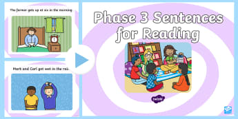 Phase 3 sentences for reading  PowerPoint - Phase 3 Sentences for Reading Posters - phase 3, phase three, sentences for reading, sentences, read