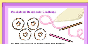 A4 Decorating Doughnuts Maths Challenge Poster - Doughnuts, Maths