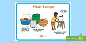 Water Storage Display Poster - water, storage, wash, poster, safe, hygiene