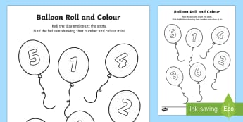 Balloon Roll and Colour Activity Sheet - EYFS, Early Years, party, The Blue Balloon, Mick Inkpen, Maths, Numeracy, counting, number recogniti