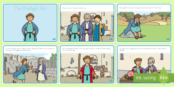 The Prodigal Son Story Sequencing A4 - usa, america, The Prodigal Son, son, father, prodigal, the lost son, lost, sequencing, story sequencing, story resources, A4, cards, coming back, father and son, jealous, pigs, inheritance, return, party, feast