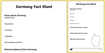 Germany Factsheet Writing Template - germany, germany fact sheet, germany fact file, germany worksheet, facts about germany, germany facts, ks2 geography