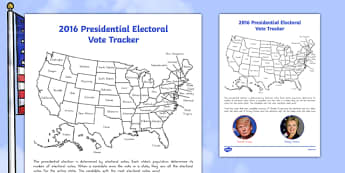 Presidential Election Electoral Vote Tracker Activity Sheet, worksheet