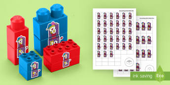 Jack-in-the-Box Number Bonds to 10 Matching Connecting Bricks Game - EYFS, Early Years, KS1, Connecting Bricks Resources, duplo, lego, plastic bricks, building bricks, M