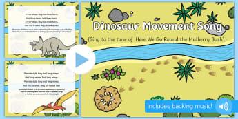 Dinosaurs Movement Song PowerPoint - EYFS, Early Years, KS1, dinosaurs, prehistoric, Jurassic, pterodactyl, T.rex, tyrannosaurus rex, ple