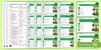 Ecosystems - 120 Multiple Choice Quiz Cards - ecosystems, key words, quiz, rainforests, extenstion activities, multiple choice