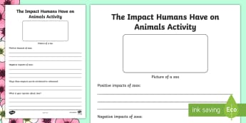The Impact Humans Have on Animals Activity - Spring Resources, science and technology, writing, opinion, critical thinking, ethics.