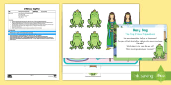 EYFS The Frog Prince Prepostions Busy Bag Plan and Resource Pack - Traditional tales, fairy tales, on, in, under, over, princess