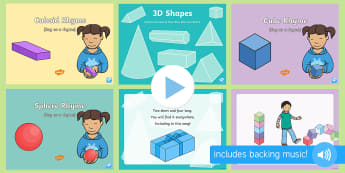 Maths: 3D Shapes Songs and Rhymes PowerPoints Pack - maths, shape pace and measure, sphere, cube, cuboid, singing, song time