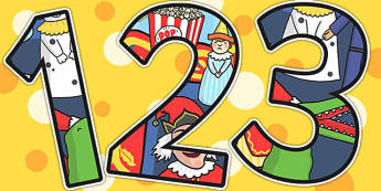 Punch and Judy Themed A4 Display Numbers - stories, numbers