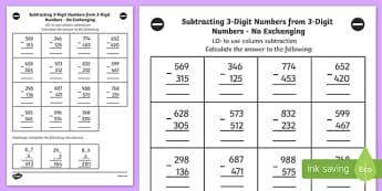 Subtracting 3 Digit Numbers from 3 Digit Numbers Worksheet Year 3
