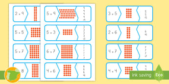 Tarjetas de emparejar: Puzle de multiplicación - multiplicar, dividir, mates, matemáticas, multiplciación, división, tablas de multiplicar, tabla