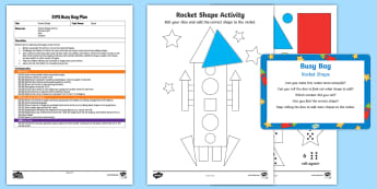 EYFS Rocket Shape Busy Bag Plan and Resource Pack - Space, rocket, shape, dice, number, numeral, 2D shape, recognition, maths, counting, count