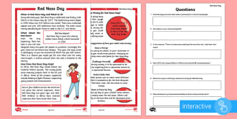 KS1 Comic Relief (Red Nose Day) Differentiated Comprehension Go Respond  Activity Sheets - Digital, Go Respond, Computer, Laptop, Tablet, Red Nose Day, Red Nose Day 2017, Charity, Fundraising