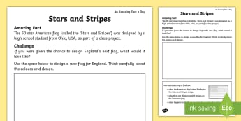 Stars and Stripes Flag Design Activity Sheet - Amazing Fact Of The Day, amazing fact a day april, activity sheets, worksheet, powerpoint, starter,