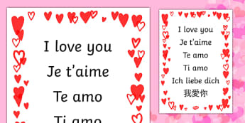 I Love You in Different Languages Display Poster - display, poster, I love you, valentines, valentines day, I love you display poster, I love you in different languages, A4 poster, poster, classroom display poster