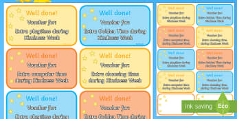Kindness Week Reward Vouchers - kindness week, twinkl kindness week, kind resources, vouchers, reward