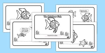 The Rainbow Fish Story Sequencing A4 Romanian Translation Black and White - romanian, rainbow fish, story
