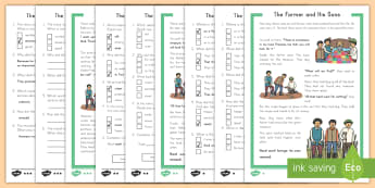 The Farmer and His Sons Reading Comprehension Differentiated Activity Sheets - differentiated, activity sheets, fables, Aesop's fables, The Farmer and His Sons, worksheets