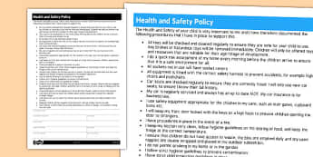 Health and Safety Policy for Childminders - childminders, policy