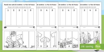 Puzzle avec suite de nombres : Le Tour de France - Numération, mathématiques, cycle 1, cycle 2, ordonner, maths,French