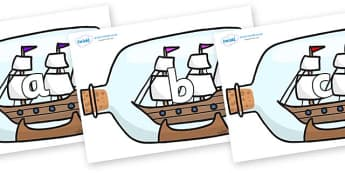 Phase 2 Phonemes on Ship in a Bottles - Phonemes, phoneme, Phase 2, Phase two, Foundation, Literacy, Letters and Sounds, DfES, display