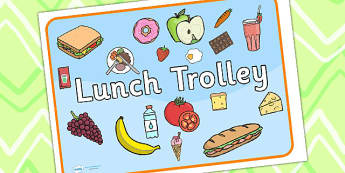 Lunch Trolley Sign - lunch, lunch trolley, signs, labels, display
