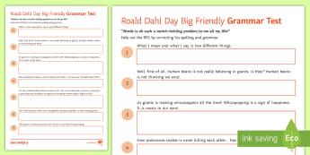 Big Friendly Grammar Test Activity Sheet - Roald Dahl Day, BFG, SPaG, spelling, KS2 worksheet