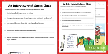 An Interview With Santa Claus Writing Activity Sheet-Australia