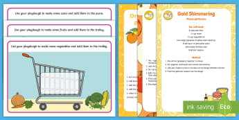 Shopping-Themed Playdough Recipe and Mat Pack - shops, supermarket, trolley, food, clothes, play doh, malleable