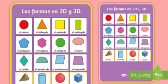 2D and 3D Shapes Display Poster - Spanish, KS2, vocabulary, shapes, 2D, 3D, display, poster, numeracy, maths, classroom, decoration