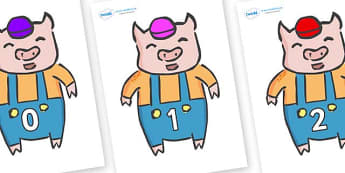 Numbers 0-31 on Little Pig - 0-31, foundation stage numeracy, Number recognition, Number flashcards, counting, number frieze, Display numbers, number posters