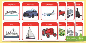 Mezzi di Trasporto Flashcards   - parole, vocaboli, immagini, macchina, moto, vocabolario, italiano, italian, materiale, scolastico.