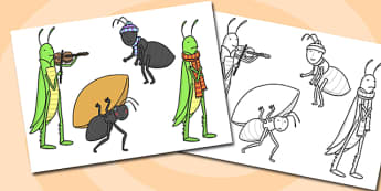 The Ant and the Grasshopper Stick Puppets - grasshopper, puppets