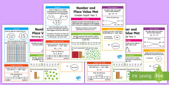 Year 2 Number and Place Value Differentiated Maths Toolkit - Key Stage 1, KS1, Year 2 , Y2, Maths Mat, Number, Place Value, Ordering, Comparing, Read, Write, wor
