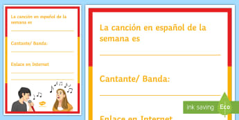 Song of the Week Display Poster Spanish - Classroom, Organisation, music, Teacher, Tools, singers, song, listening