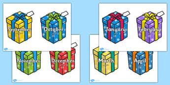 Months on Birthday Presents Arabic Translation - arabic, months, birthday, presents, year