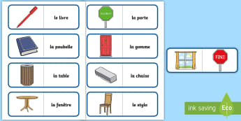 Classroom Objects Card Game French - French Games, french card games, french classroom objects, self-correcting games, classroom.