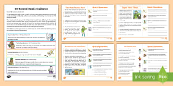 60 Second Reads: Superheroes Activity Cards - 90 Words A Minute, Ninety Words, Year 2, Y2, One Minute Reading